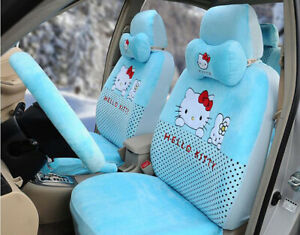 18pc Set Plush Universal Hello Kitty Car Seat Covers Cushion Accessories Blue