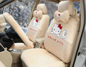 18pc Plush Universal Hello Kitty Car Seat Covers Cushion Accessories Beige 049l