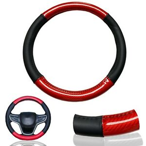 1x Red Carbon Fiber Pu Leather Steering Wheel Cover 15 Anti slip Protector R1