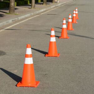 4 Pcs 28 Traffic Safety Cones Reflective Collars Overlap Parking Construction