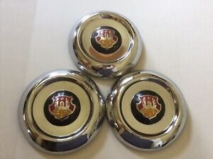 3 1950 1953 Oldsmobile Small Dog Dish Hubcaps Used