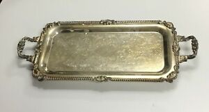 Vtg Antique Silver On Copper Serving Handled Tray Victorian Silver Plated Rare