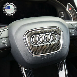 Audi Q3 Q5 Q7 Q8 3d Carbon Fiber Steering Wheel Ring Logo Badge Emblem Sticker