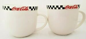 Coca Cola Mugs Red Black White Checkered Ceramic Tea Coffee  2002 Made Gibson