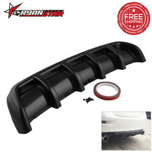 26 X5 Abs Rear Shark 6 Fin Curved Bumper Lip Diffuser Kit Black Universal