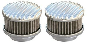 Pair Polished Finned 2 Barrel Air Cleaners Show Quality 94 97