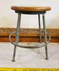 Reclaimed Vintage Industrial 18 Wood Metal Stool 14 Round Seats Lowered