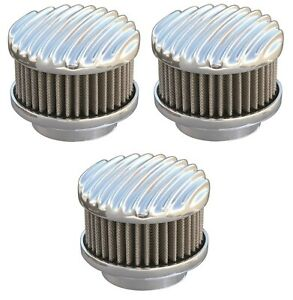 Set 3 Polished Finned 2 Barrel Air Cleaners Show Quality 94 97