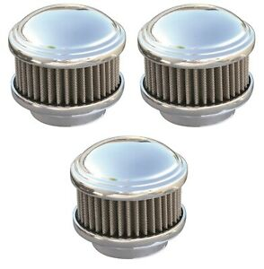set 3 Polished Dome 2 Barrel Air Cleaners Show Quality 94 97 98 Carbs