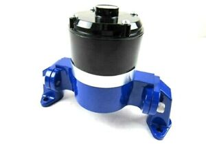 Sbc 350 383 Chevy Aluminum High Flow 12v Electric Water Pump Blue Bpk 1107bu