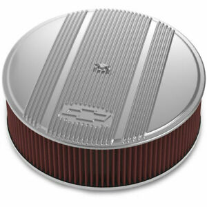Holley 120 175 Officially Licensed Chevy Bowtie Vintage Finned Air Cleaner Assem