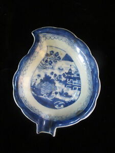Chinese Export Canton Blue Leaf Shaped Dish 7 3 4 Plate