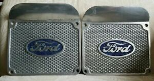 Vintage Antique Aluminum Ford Truck Step Plates Running Board Rat Rod L r W Logo