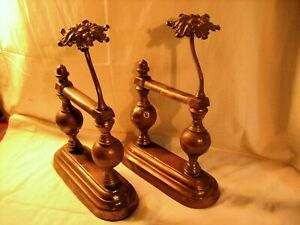 Pair Ornate Antique Cast Iron Brass Fireplace Tool Poker Rests Door Stops
