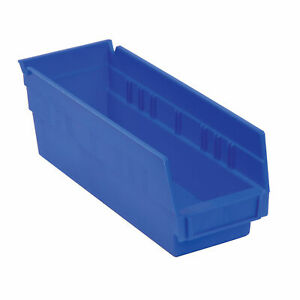 Akro mils Small Parts Shelf Bins 4 1 8x11 5 8x4 Blue Lot Of 24