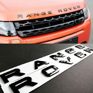 Range Rover Gloss Black Letters Hood Trunk Tailgate Emblem Badge Nameplate Decal