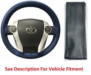 Blue Genuine Leather Steering Wheel Cover Axx For Gmc Buick Other Makes