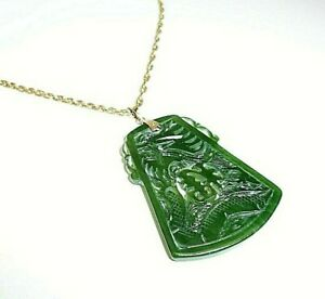 Vintage Carved Green Jade Dragon Solid 10k Yellow Gold Pendant 10 4 Grams