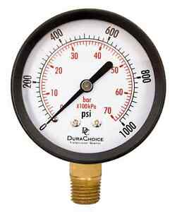 2 1 2 Utility Pressure Gauge For Water Oil Gas 1 4 Npt Lower Mount Blac