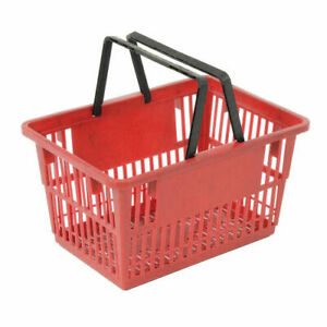 Red Plastic Shopping Basket With Plastic Handle Large 19 3 8 l X 13 1 4 w X