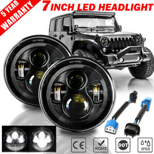 Pair 7 Inch Led Headlights Black Sealed Dot Lamp For Jeep Wrangler Jk Tj Lj Cj