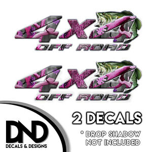 Pink Camo Bass 4x4 Off Road Decals 2 Pk Sticker For Ford Chevy Truck D 2bf 8in