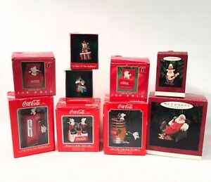 Coca Cola Vintage Ornaments Enesco Hallmark Keepsake Lot of 9 in Box 1989-1995