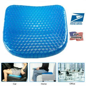Soft Breathable Cool Car Chair Gel Honeycomb Seat Cushion Saddle Back Support Us