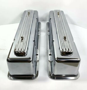 Rocket Finned Aluminum Valve Covers Tall For 1958 1986 Sbc Chevy Show Quality
