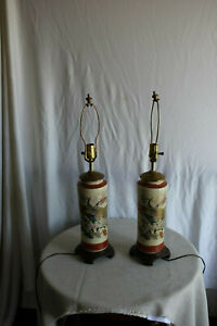 Pair Of Chinese Painted Porcelain Lamps