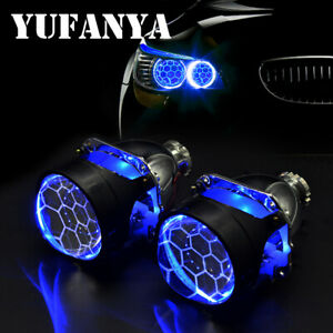 2 5 H1 Blue Bi Xenon Hid Projector Lens Devil Eye Fit H4 H7 Headlight Retrofit