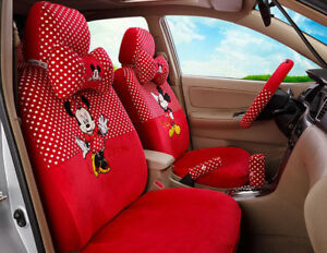 18pcs Set Women Love Plush Cartoon Mickey Mouse Universal Car Seat Cover Red M32