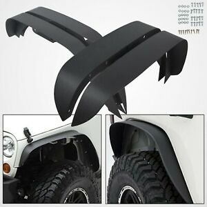 For 2007 2018 Jeep Wrangler Jk 4pc Textured Black Steel Flat Style Fender Fla