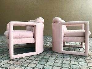 Pair Of Vintage Drexel Parson Style Lounge Chairs In Pink Baughman Era
