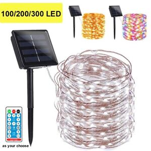 100200 LED Solar Fairy String Light Copper Wire Outdoor Waterproof Garden Decor $12.91