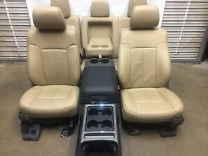 1999 2016 Ford F250 F350 Super Duty Front Rear Seats Console Tan Leather