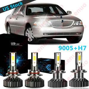9005 H7 Led Headlight Bulb High low Beam 6000k F2 For Lincoln Town Car 2003 2011