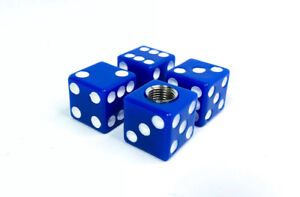 4 Blue White Dice Tire Wheel Valve Stem Caps Hot Rod Car Truck Atv