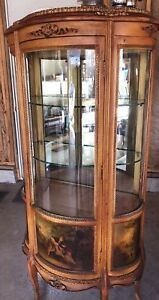 Antique French Portrait Curio Cabinet Vitrine Curved Glass Hand Painted Scenes