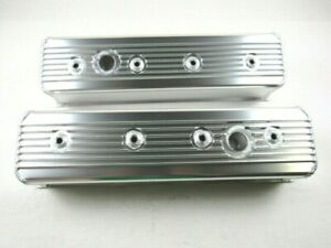 87 up Chevy 350 Alum Center Bolt Finned Valve Cover Set Clear Ano Bpe 2312ca