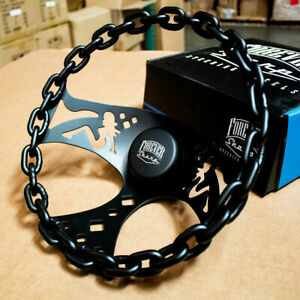 11 Black Chain Steering Wheel With Lady Cutouts And Horn For Chevy Cars Trucks