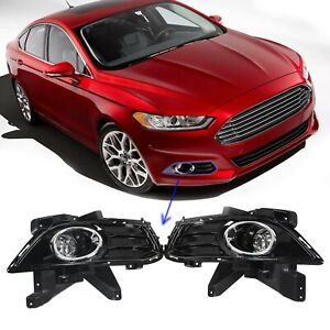 For 2013 2016 Ford Fusion Front Bumper Fog Light W Bulbs Bezel Brackets