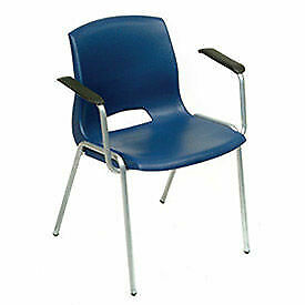 Vented Stackable Chairs With Armrests Blue Lot Of 4
