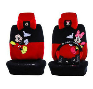 New Plush 1 Set Cute Cartoon Mickey Mouse Universal Car Seat Covers 18pcs 801