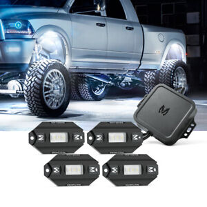 Mictuning Rgbw Offroad Led Rock Light 4 Pods Solid White Bluetooth Music Control