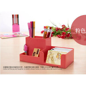 Pink Office Home Plastic Desk Pen Pencil Holder Storage Stationery Organizer b9