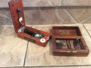 Antique Balance Beam Gold Miners Scale Box Weights Inspection Magnifying Glass