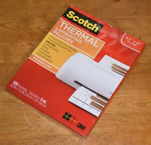 Scotch 3m Thermal Laminating 100 Pouches 5 Mil Thickness Tp5854 100 New