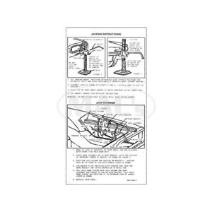 Ford Thunderbird Jack Instruction Decal 1966 66 47115 1