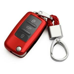 Red Flip Key Fob Chain Scirocco Accessories Cover Case For Vw Golf Mk6 2010 2014